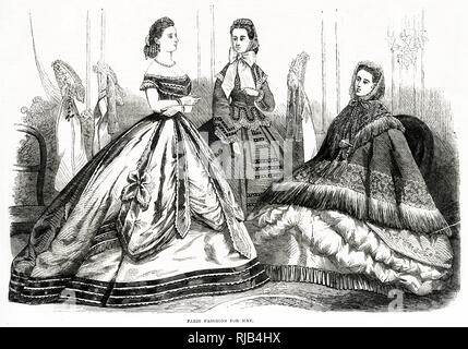 Fashionable victorian women clothing for May. - Stock Image