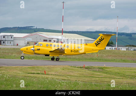 From Germany to Inverness on a medical emergency flight to return a patient back to their home in Hamburg for further - Stock Image