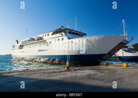 Ferryboats in port of Igoumenitsa, Greece. Traveling to Corfu island. - Stock Image