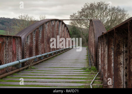 Duke of Beaufort Bridge, now a footpath, formerly carried the Ross and Monmouth Railway line across the River Wye.  Built 1874, closed 1964. - Stock Image