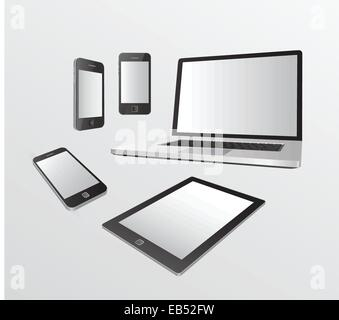 Various media devices on grey - Stock Image
