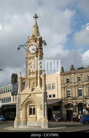 The Mallock Memorial clock tower in Torquay, Devon England.  Built in 1902. - Stock Image