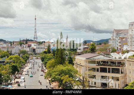 Dalat, Vietnam - September 23, 2018: A view of Dalat city from the Central Market on September 23, 2018, in Dalat, Vietnam - Stock Image