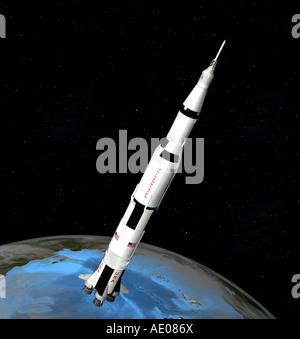saturn V rocket - Stock Image