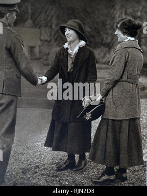 During World War One, Glamis Castle was converted into a hospital for the wounded. Lady Elizabeth Bowes Lyon (later Queen consort Elizabeth of Great Britain), helped to nurse the soldiers. 1917 - Stock Image
