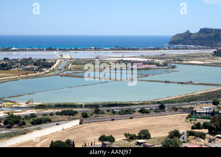 Cagliari salt flat salt pan shallow lagoon skyline landscape rural costal travel holiday vacation destination outside outdoor - Stock Image