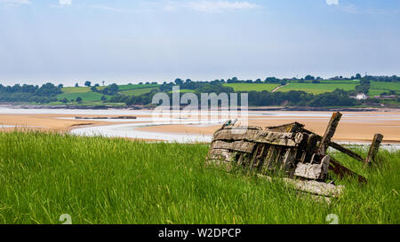 The remains of the Severn Collier barge beached on the banks of the River Severn, one of the Purton Hulks, Gloucestershire, England - Stock Image