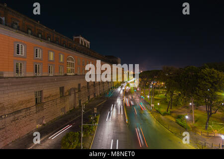Naples (Italy) - Landscape of via Acton, in the centre of the city. On the left side the Royal Palace. - Stock Image