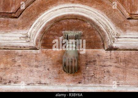 Cuba, Havana, Colon Cemetery. Hand door knocker on chapel. Credit as: Wendy Kaveney / Jaynes Gallery / DanitaDelimont.com - Stock Image