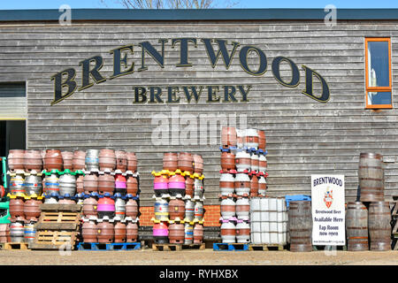 Exterior of independent Brentwood Craft Brewery family business producing gluten free Vegan-friendly real ale in cask keg and bottles Essex England UK - Stock Image