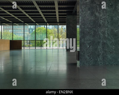 Neue Nationalgalerie in Berlin completely empty and closed before complete overhaul on 24th April 2015. High Resolution. - Stock Image