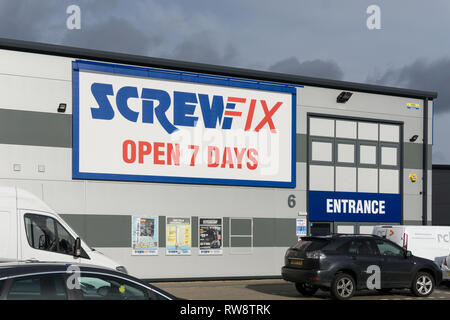 Screwfix store on Brackmills Trade Park, Northampton, UK; a well known home improvement brand, part of the Kingfisher Group. - Stock Image