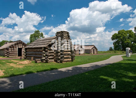 Replica cabins like ones Revolutionary War soldiers used during the winter camp of the Continental Army at Valley Forge, Pennsylvania. - Stock Image