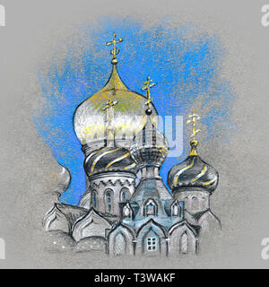 Typical orthodox church domes - Stock Image