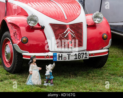Citroen 2CV, doll, oldtimer presentation at charity event, Celle, Germany - Stock Image