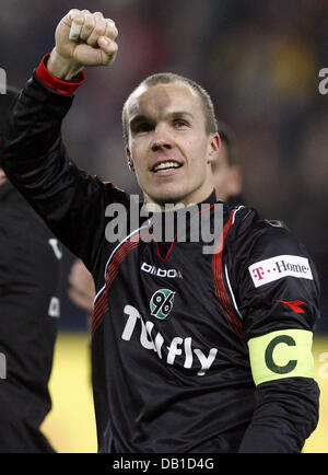 Goalkeeper Robert Enke of Hanover celebrates the victory after the Bundesliga match Hanover 96 vs Werder Bremen - Stock Image