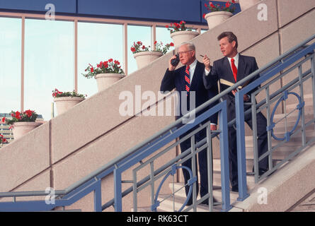 1991, Two Businessman Discussing a Deal, USA - Stock Image