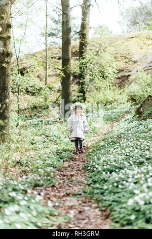 Girl in forest - Stock Image