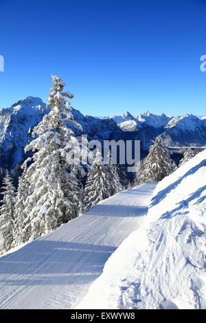Tegelberg in winter, Ammergau Alps, Allgaeu, Bavaria, Germany, Europe - Stock Image