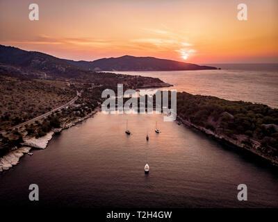 Sunrise in Thasos Aliki Beach gulf - Stock Image