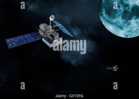 satellites orbiting around the moon - Stock Image