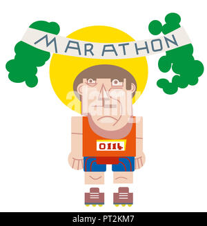 Marathon runner athlete.  illustration of marathon Runner, start running graphic. - Stock Image
