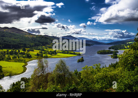 Panoramic View Over Loch Tummel And Tay Forest Park To The Mountains Of Glencoe From Queen's View Near Pitlochry In Scotland - Stock Image