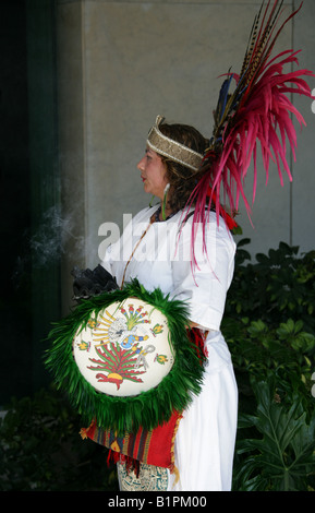 Mexican Woman at an Aztec Celebration in the National Museum of Anthropology, Chapultepec Park, Mexico City, Mexico - Stock Image