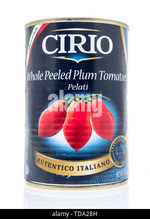 Winneconne, WI - 11 May 2019 : A can of Cirio whole peeled plum tomatoes on an isolated background - Stock Image