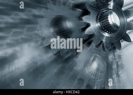 large titanium gears and cogs, aerospace engineering parts, slight zoom effect - Stock Image