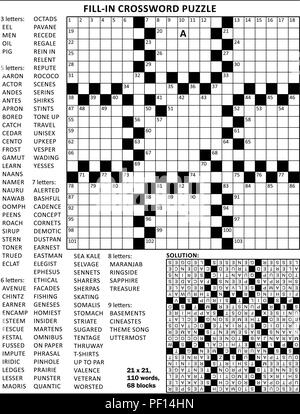 Fill in the blanks crossword puzzle with american style grid of 23x23 size, 68 blocks, 110 words, one letter revealed. Answer included. - Stock Image