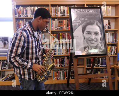 New Haven CT USA-- Corey Staggers, a Junior at Hillhouse High, plays the 'Negro National Anthem' before - Stock Image