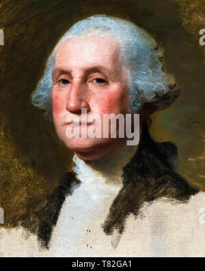 George Washington (The Athenaeum Portrait) (detail), Gilbert Stuart, 1796 - Stock Image