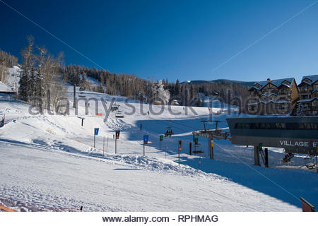 Bottom of the Village Express chairlift in Mountain Village, San Miguel County, Colorado, USA - Stock Image