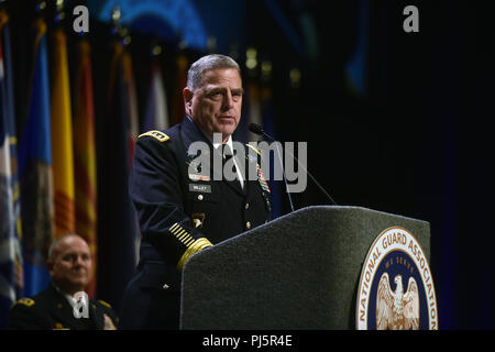 Army Gen. Mark Milley, chief of staff of the Army, addresses National Guard leaders at the National Guard Association of the United States 140th General Conference, New Orleans, Louisiana, Aug. 25, 2018. (U.S. Army National Guard photo by Sgt. 1st Class Jim Greenhill) - Stock Image