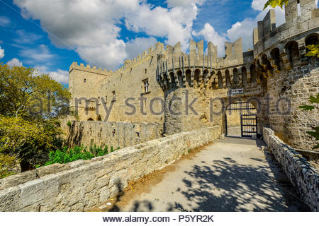 A view of the Palace of the Grand Master of the Knights of Rhodes on the island of Rhodes, Greece taken from the ancient city wall - Stock Image