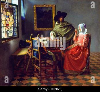 Johannes Vermeer, The Wine Glass, painting, c. 1661 - Stock Image