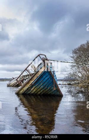 Ardara, County Donegal, Ireland. 19th Dec, 2018. An overcast day on Loughros More Bay, the wreck of an old fishing boat lies forlorn on the rising tide. Credit: Richard Wayman/Alamy Live News - Stock Image
