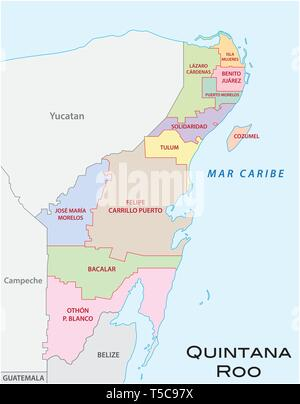 Quintana Roo, administrative and political vector map, mexico - Stock Image