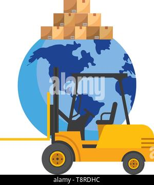 lift truck and globe with boxes icon cartoon vector illustration graphic design - Stock Image