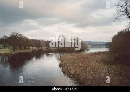 View of the Lower Lake at Yorkshire Sculture Park as seen from the Cascade Bridge. - Stock Image