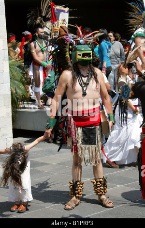 Mexican Man in Aztec Crocodile Costume at a Traditional Aztec Festival at the National Museum of Anthropology in - Stock Image