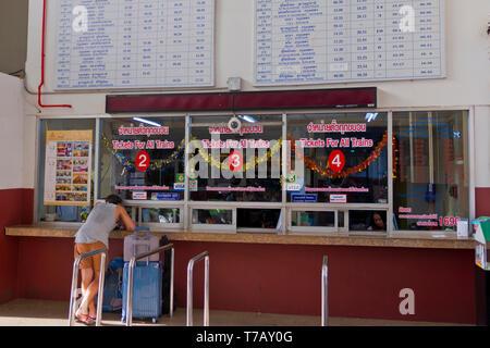 Surat Thani railway station, ticket counter, Phun Phin, Thailand - Stock Image