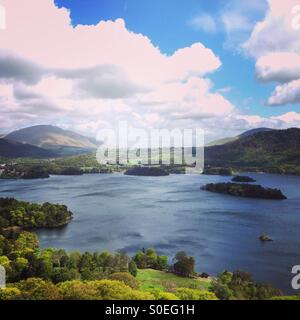 View of derwent water from catbells, Lake District, Cumbria, England, UK - Stock Image