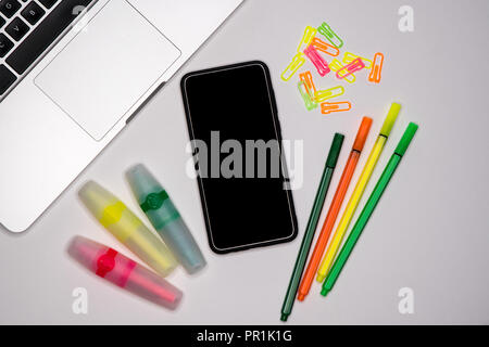 Laptop tablet and smartphone with text space, copy space. School concept. - Stock Image