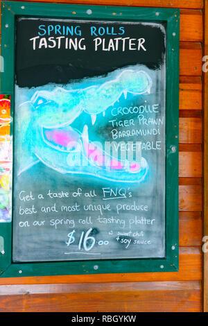 Menu on a board of a Café  in Daintree Village, Far North Queensland, FNQ, QLD, Australia - Stock Image
