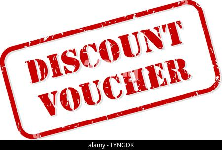 Discount voucher red rubber stamp vector isolated - Stock Image
