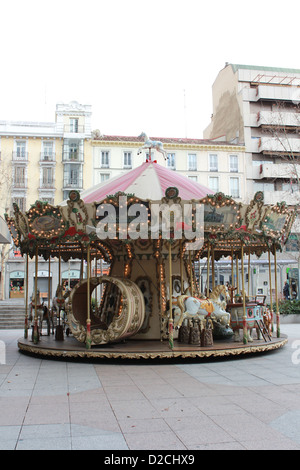 Vintage carousel in the street - Stock Image