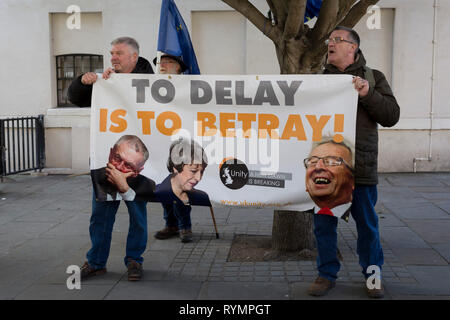 On the day that MPs in Parliament vote on a possible delay on Article 50 on EU Brexit negotiations by Prime Minister Theresa May, Brexiteer Leavers from Unity protest on College Green, on 14th March 2019, in Westminster, London, England. - Stock Image