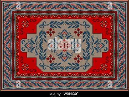 Vintage luxury carpet of red, gray and blue shades with a central ornament of curved branches with leaves - Stock Image